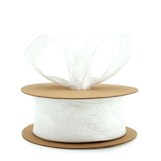 Taffeta Ribbon - Wire Edge 38mm x 20m - White
